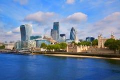Квадратная миля горизонта района Лондона финансовое Стоковая Фотография RF
