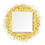 Квадратная рамка золота яркого блеска, иллюстрация вектора иллюстрация штока