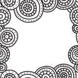 Квадратная рамка кругов с черным планом на белой предпосылке Иллюстрация с космосом для текста иллюстрация штока