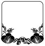 Квадратная рамка цветка силуэта скопируйте космос ART зажима вектора Стоковая Фотография