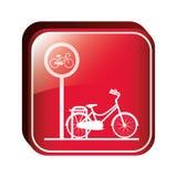Квадратная стояночная площадка велосипеда кнопки Стоковое Изображение