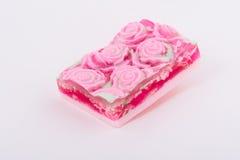 Квадратное мыло handmade на свете - серой предпосылке Стоковые Изображения RF