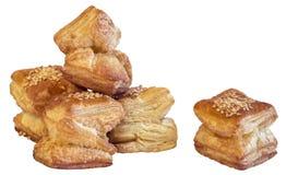 Квадратное печенье круассана слойки изолированное на белой предпосылке Стоковая Фотография