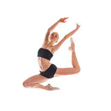 Квадратное фото балерины в скачке изолированной на белой предпосылке Стоковая Фотография