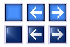 Квадратные голубые фронт и задняя часть кнопки Стоковые Фотографии RF