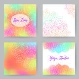 Квадратные карточки с Mandala1 Стоковая Фотография