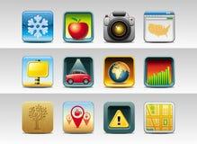 Квадратные кнопки иконы   Стоковое Изображение