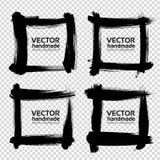 Квадратные рамки от толстых черных мазков Стоковое Изображение