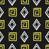 Квадратные спирали и косоугольники Нарисовано вручную Щетка, акварель, grunge, эскиз, чернила картина безшовная иллюстрация вектора
