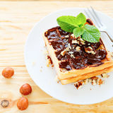 Квадратные сладостные waffles с шоколадом и гайками Стоковая Фотография