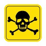 Квадратный знак опасности с символом черепа Смертельный знак опасности, предупредительный знак Стоковые Фотографии RF