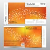 Квадратный шаблон брошюры с молекулярной структурой абстрактная предпосылка геометрическая Медицина, наука, технология вектор Стоковое Изображение