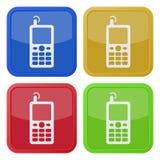 4 квадратных значка цвета, старый мобильный телефон Стоковое Изображение RF