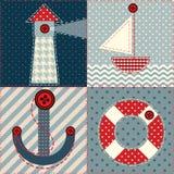 Квадраты заплатки в морском стиле Стоковая Фотография