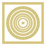 Квадрат вектора установленный традиционный винтажный золотой и круглый греческий меандр орнамента граничат золото Греции Стоковое фото RF