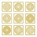 Квадрат вектора установленный традиционный винтажный золотой и круглый греческий меандр орнамента граничат золото Греции Стоковая Фотография