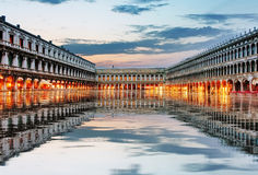 Квадрат в вечере, Венеция Италия Сан Marco Стоковое Фото
