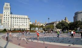 Квадрат Каталонии в Барселоне, Испании Стоковая Фотография RF