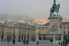 Квадрат коммерции в Лиссабоне, Португалии Стоковая Фотография