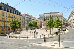 Квадрат Луис de Camoes в Лиссабоне Стоковая Фотография