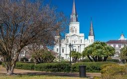 Квадрат на красивый солнечный зимний день, Новый Орлеан Джексона Стоковое Фото