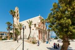 Квадрат на церков St Peter в старой Яффе, Израиле Стоковая Фотография RF