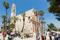 Квадрат на церков St Peter в старой Яффе, Израиле Стоковое Изображение