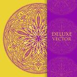 Квадрат приглашает шаблон Приглашение вектора с элементом дизайна мандалы Круглый орнамент цветка Декоративная винтажная печать Р Стоковые Изображения
