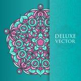 Квадрат приглашает шаблон Приглашение вектора с элементом дизайна мандалы Круглый орнамент цветка Декоративная винтажная печать Р Стоковое фото RF