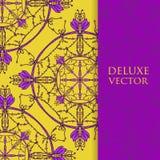Квадрат приглашает шаблон Приглашение вектора с элементом дизайна мандалы Круглый орнамент цветка Декоративная винтажная печать Р Стоковое Фото