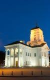 Квадрат свободы ратуши Беларуси Минска ночи Стоковая Фотография