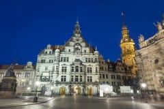 Квадрат с собором святой троицы в Дрездене Стоковые Фото