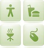 квадрат 2d olivine икон установленный Стоковые Изображения RF