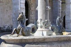 Квадрат Arringo самый старый монументальный квадрат города Ascoli Piceno Стоковое Изображение RF