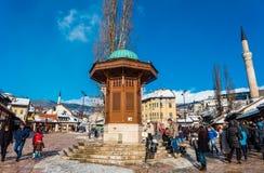 Квадрат Bascarsija в Сараеве Стоковая Фотография