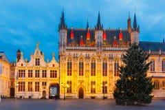 Квадрат Burg рождества в Брюгге Стоковая Фотография