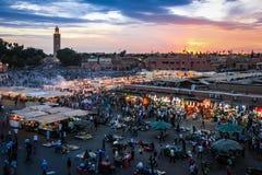 квадрат fna el djemaa marrakesh Марокко Стоковое Изображение