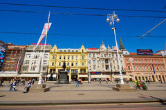 Квадрат Josip Jelaćić в Загребе стоковые фотографии rf