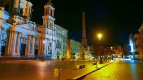 Квадрат Navona в Риме вызвал Аркаду Navona - большой взгляд ночи Стоковое Фото