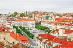 Квадрат Rossio в старом городском Лиссабоне, Португалии Стоковая Фотография