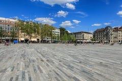 Квадрат Sechselautenplatz в Цюрихе, Швейцарии Стоковое Фото
