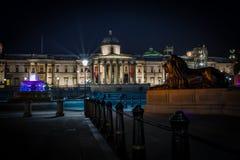 Квадрат Trafalgar Nightscape Стоковые Изображения