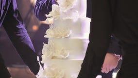Кельнеры носят свадебный пирог Невеста и groom режа их торт венчания конец красит воду взгляда лилии мягкую поднимающую вверх акции видеоматериалы