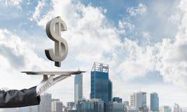 Кельнер представляя символ доллара на подносе Стоковые Фото