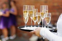 кельнер сервировки шампанского стоковая фотография