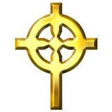 кельтский крест 3d золотистый Стоковая Фотография RF