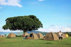 Кемпинг в горах кратера Ngorongoro вышесказанного стоковые фото