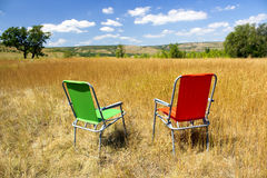 Кемпинг Живописный ландшафт африканской саванны с целью холмов Стоковые Фотографии RF