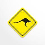 Кенгуру на желтой предпосылке зацепляет икону бесплатная иллюстрация