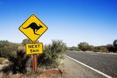 кенгуру скрещивания Австралии Стоковое Изображение